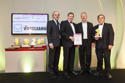 ADBA Award Ceremony 2012. Left to Right Charles Secrett, host; Richard Tomlinson, Fre-energy; James Tolson, MD of Vogelsang; Chris Morris, Fre-energy